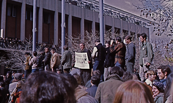 "4*Fri, Jan 31, 1969*People: Holy Hubert, crowdSubject: *Place: entrance to Sproul PlazaActivity: TWLF protestComments: ""HAPPINESS IS A PEACFULL STUDENT""  -- also, happiness is cops off campus!"
